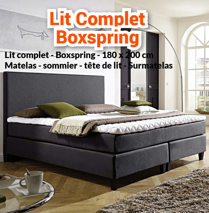 nouveaut lit complet boxspring 180 x 200 matelas n1. Black Bedroom Furniture Sets. Home Design Ideas