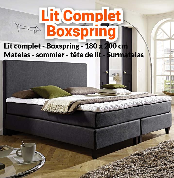 Nouveaute Lit Complet Boxspring 180 X 200 Matelas N1